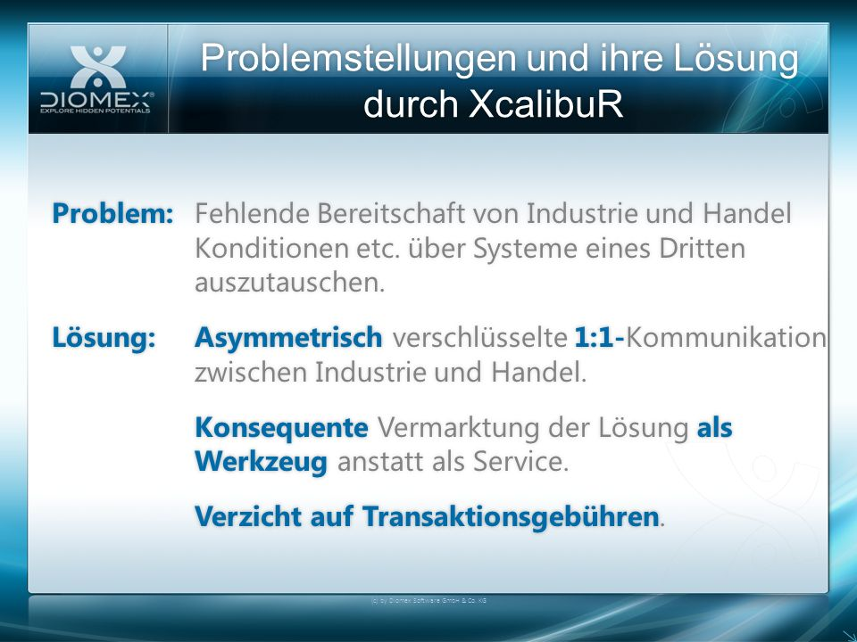 Problemstellungen und ihre Lösung durch XcalibuR (c) by Diomex Software GmbH & Co. KG Problem:Fehlende Bereitschaft von Industrie und Handel Kondition