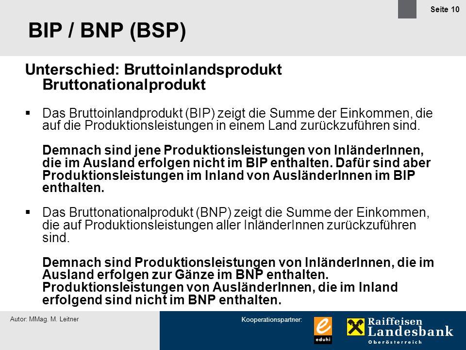 Kooperationspartner: Autor: MMag. M. Leitner Seite 10 BIP / BNP (BSP) Unterschied: Bruttoinlandsprodukt Bruttonationalprodukt Das Bruttoinlandprodukt