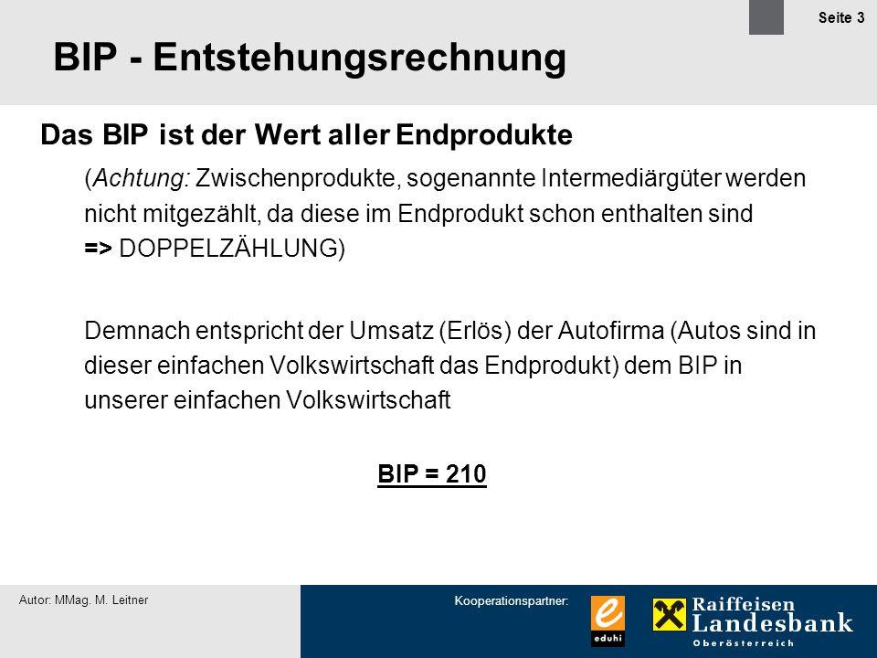Kooperationspartner: Autor: MMag. M. Leitner Seite 3 BIP - Entstehungsrechnung Das BIP ist der Wert aller Endprodukte (Achtung: Zwischenprodukte, soge