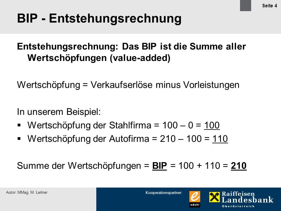 Kooperationspartner: Autor: MMag. M. Leitner Seite 4 BIP - Entstehungsrechnung Entstehungsrechnung: Das BIP ist die Summe aller Wertschöpfungen (value