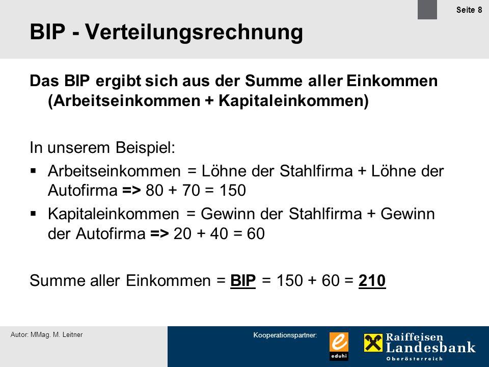 Kooperationspartner: Autor: MMag. M. Leitner Seite 8 BIP - Verteilungsrechnung Das BIP ergibt sich aus der Summe aller Einkommen (Arbeitseinkommen + K