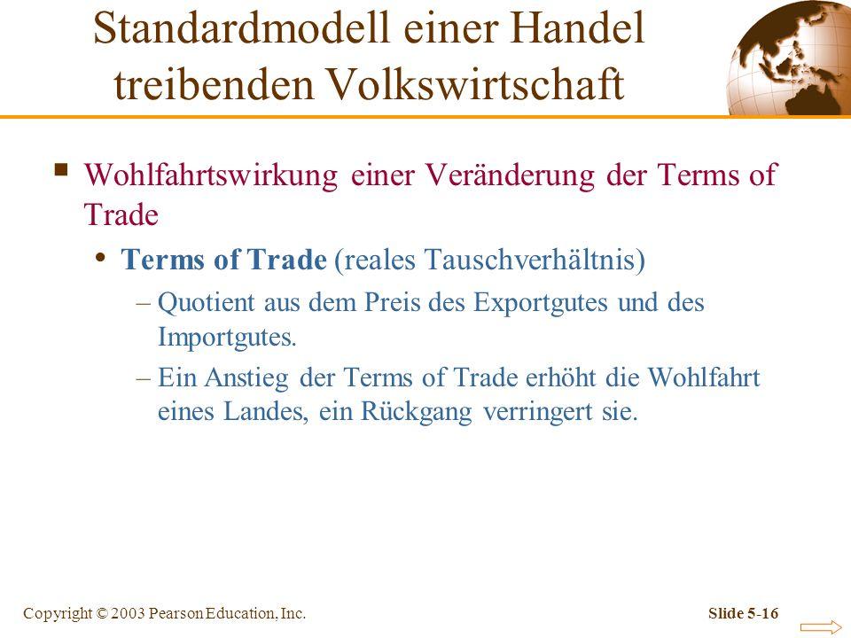 Copyright © 2003 Pearson Education, Inc.Slide 5-16 Wohlfahrtswirkung einer Veränderung der Terms of Trade Terms of Trade (reales Tauschverhältnis) –Qu
