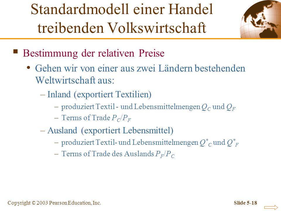 Copyright © 2003 Pearson Education, Inc.Slide 5-18 Bestimmung der relativen Preise Gehen wir von einer aus zwei Ländern bestehenden Weltwirtschaft aus