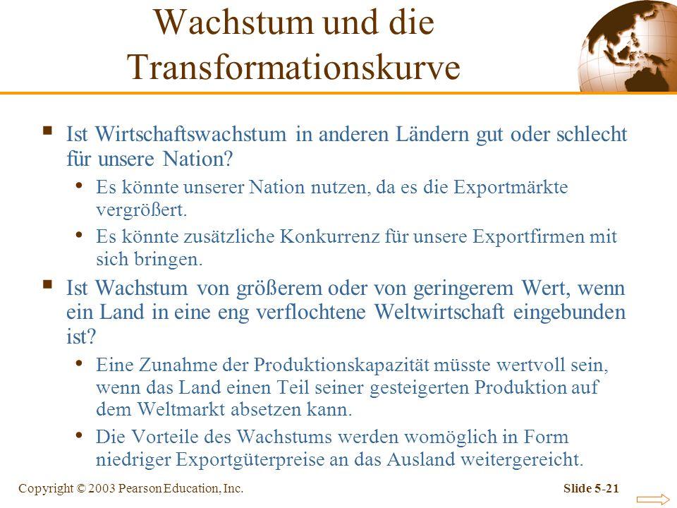 Copyright © 2003 Pearson Education, Inc.Slide 5-21 Ist Wirtschaftswachstum in anderen Ländern gut oder schlecht für unsere Nation? Es könnte unserer N