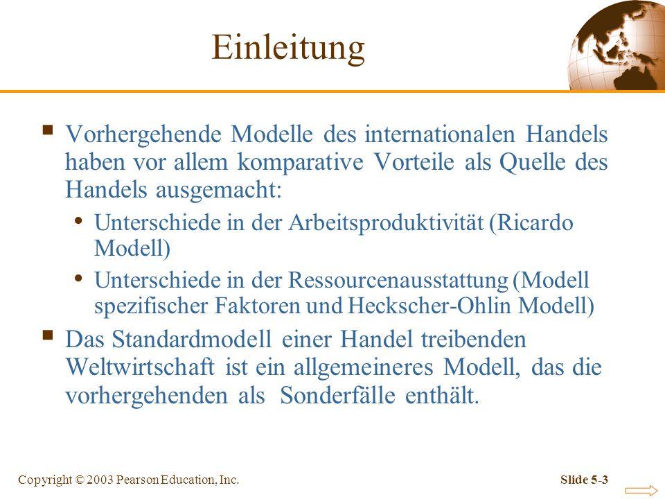 Copyright © 2003 Pearson Education, Inc.Slide 5-4 Standardmodell einer Handel treibenden Volkswirtschaft Das Standardmodell des Handels basiert auf drei Gemeinsamkeiten der bisher vorgestellten Modelle: Produktionsmöglichkeiten lassen sich durch die Transformationskurve darstellen.