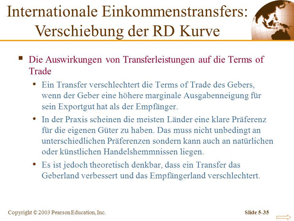 Copyright © 2003 Pearson Education, Inc.Slide 5-35 Die Auswirkungen von Transferleistungen auf die Terms of Trade Ein Transfer verschlechtert die Term