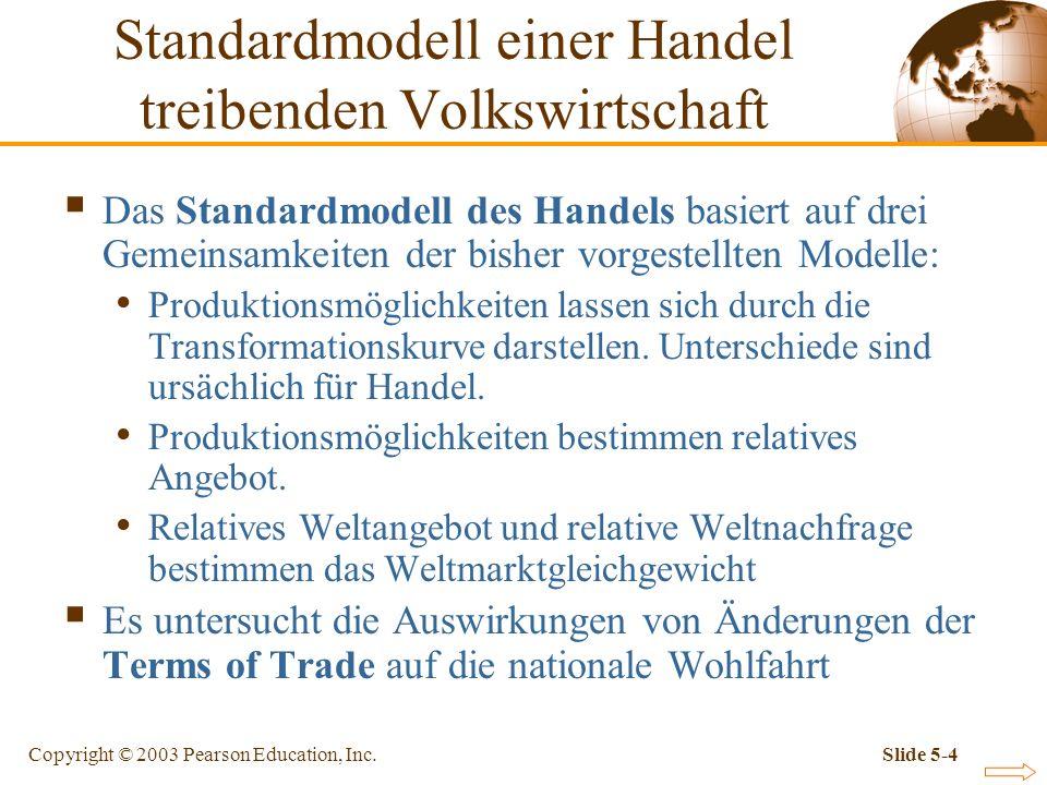 Copyright © 2003 Pearson Education, Inc.Slide 5-4 Standardmodell einer Handel treibenden Volkswirtschaft Das Standardmodell des Handels basiert auf dr