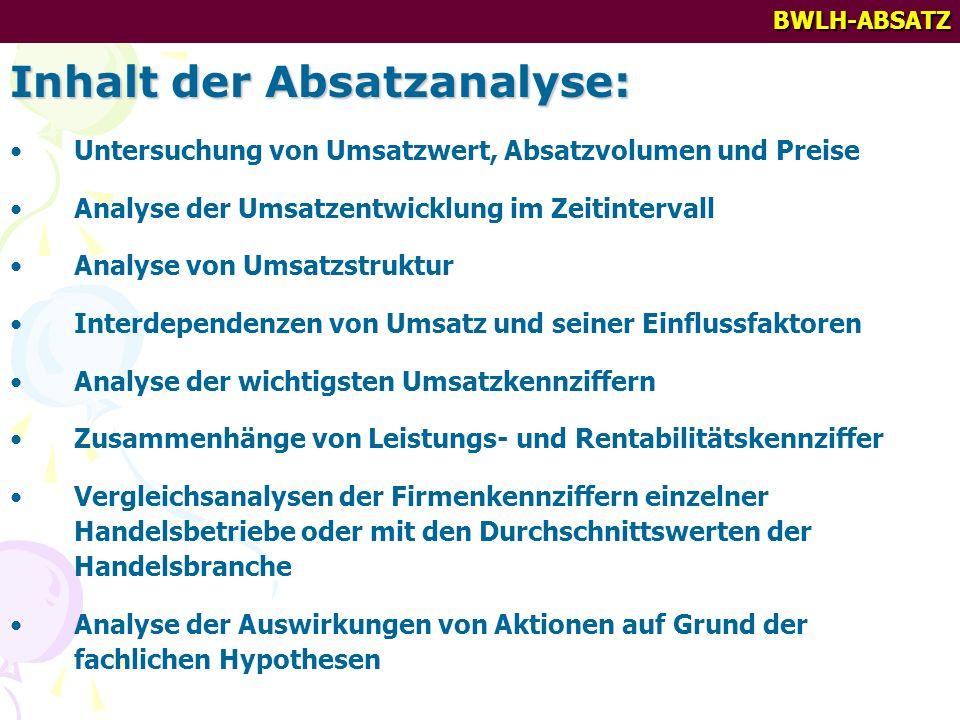 BWLH-ABSATZ Inhalt der Absatzanalyse: Untersuchung von Umsatzwert, Absatzvolumen und Preise Analyse der Umsatzentwicklung im Zeitintervall Analyse von