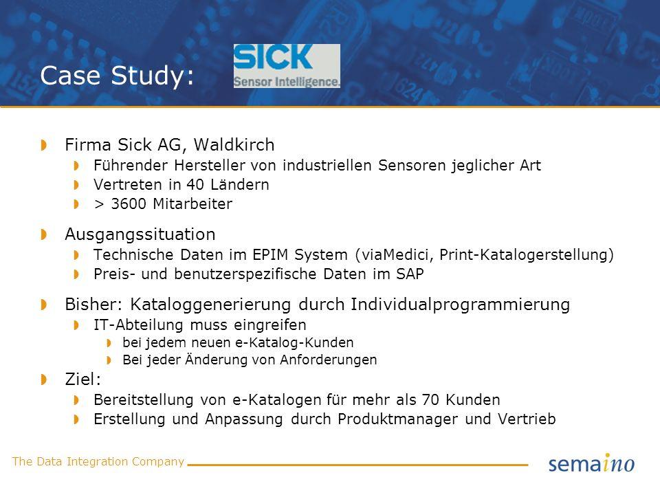 The Data Integration Company Case Study: Firma Sick AG, Waldkirch Führender Hersteller von industriellen Sensoren jeglicher Art Vertreten in 40 Länder