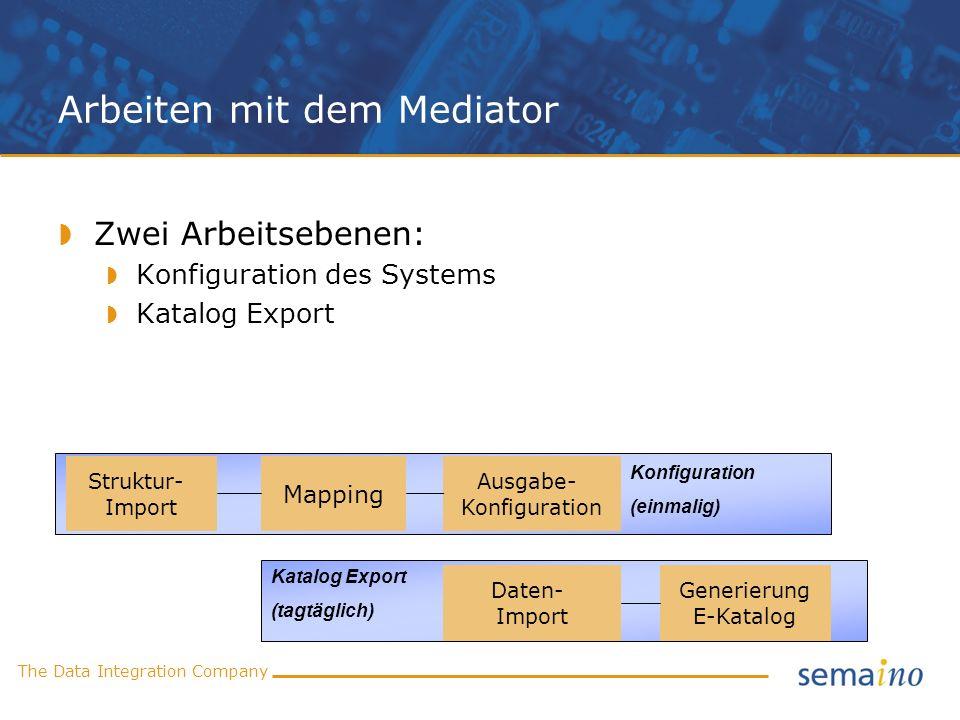 The Data Integration Company Arbeiten mit dem Mediator Struktur- Import Daten- Import Mapping Ausgabe- Konfiguration Generierung E-Katalog Konfigurati