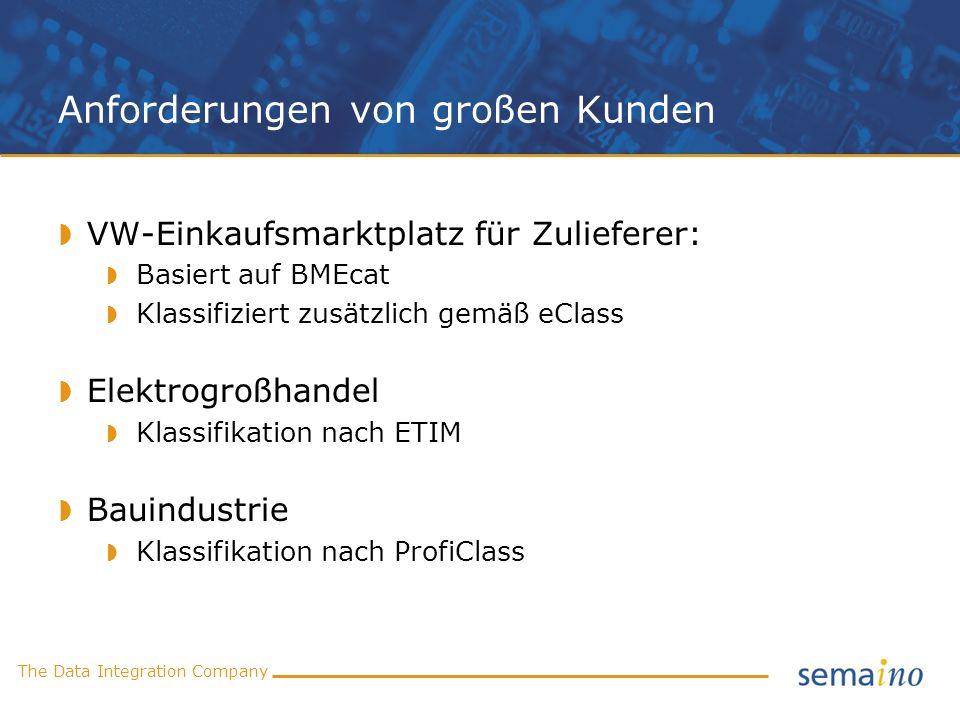 The Data Integration Company Anforderungen von großen Kunden VW-Einkaufsmarktplatz für Zulieferer: Basiert auf BMEcat Klassifiziert zusätzlich gemäß e