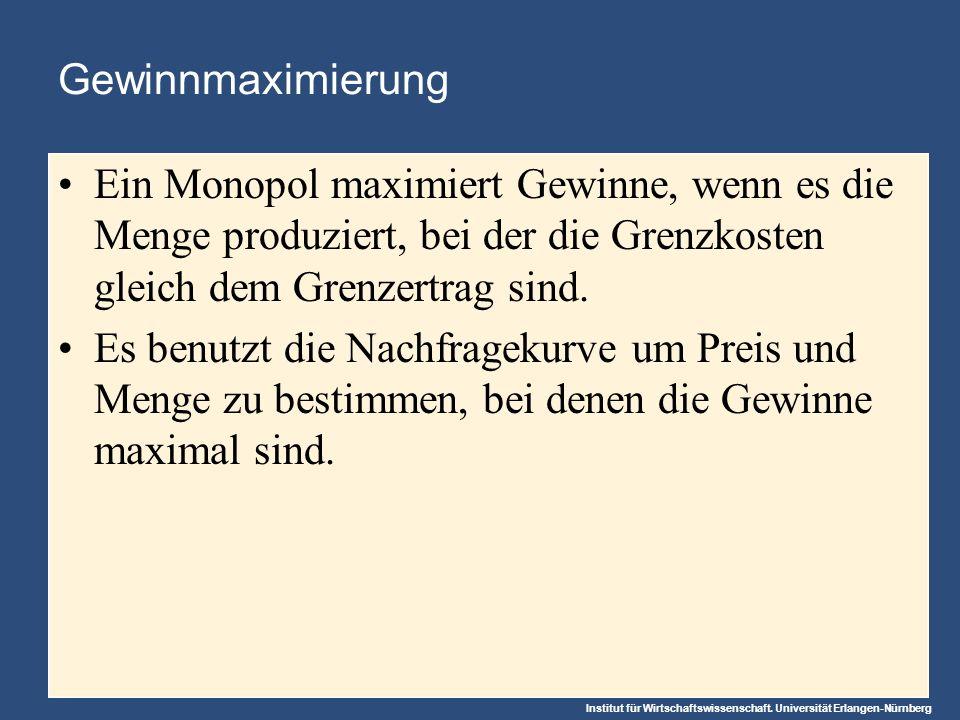 Institut für Wirtschaftswissenschaft. Universität Erlangen-Nürnberg Gewinnmaximierung Ein Monopol maximiert Gewinne, wenn es die Menge produziert, bei