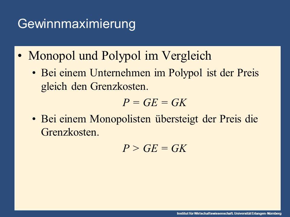 Institut für Wirtschaftswissenschaft. Universität Erlangen-Nürnberg Gewinnmaximierung Monopol und Polypol im Vergleich Bei einem Unternehmen im Polypo