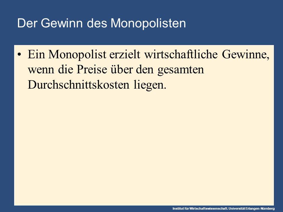 Institut für Wirtschaftswissenschaft. Universität Erlangen-Nürnberg Der Gewinn des Monopolisten Ein Monopolist erzielt wirtschaftliche Gewinne, wenn d