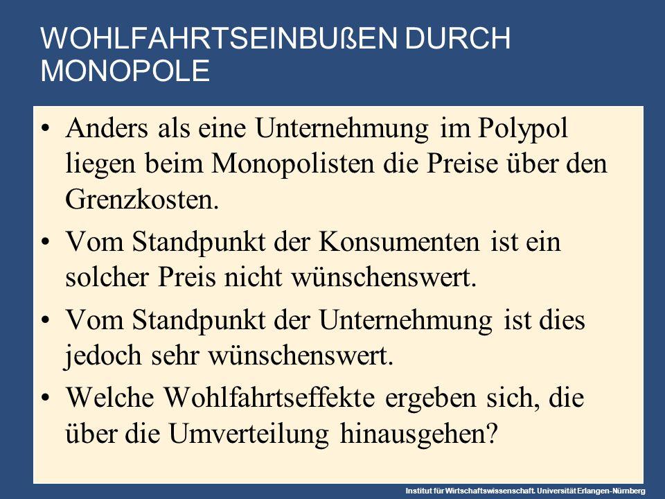 Institut für Wirtschaftswissenschaft. Universität Erlangen-Nürnberg WOHLFAHRTSEINBUßEN DURCH MONOPOLE Anders als eine Unternehmung im Polypol liegen b