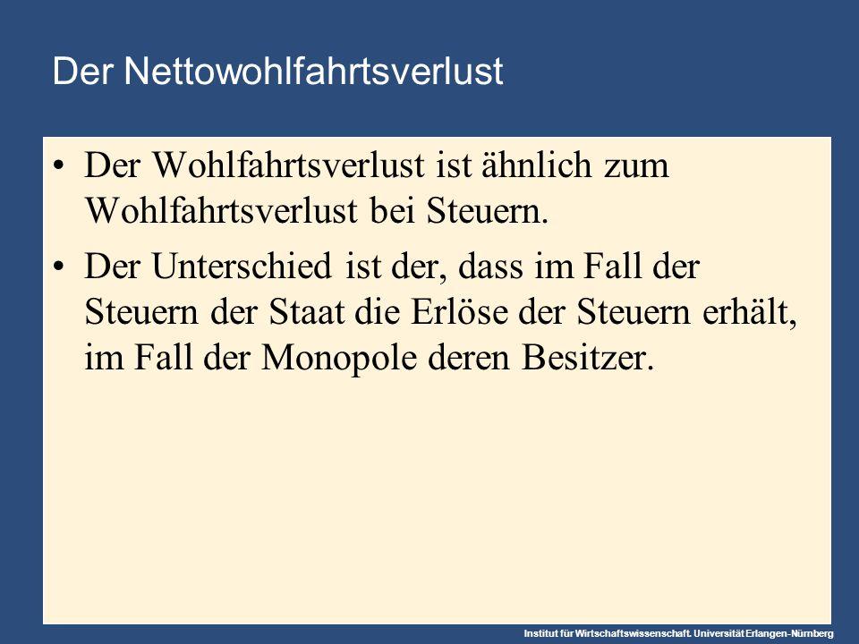 Institut für Wirtschaftswissenschaft. Universität Erlangen-Nürnberg Der Nettowohlfahrtsverlust Der Wohlfahrtsverlust ist ähnlich zum Wohlfahrtsverlust