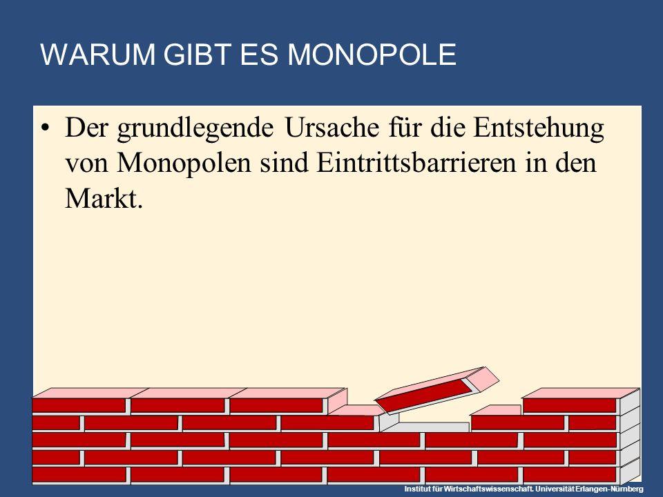 Institut für Wirtschaftswissenschaft. Universität Erlangen-Nürnberg WARUM GIBT ES MONOPOLE Der grundlegende Ursache für die Entstehung von Monopolen s