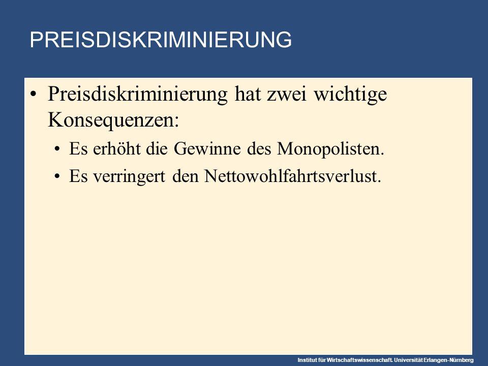 Institut für Wirtschaftswissenschaft. Universität Erlangen-Nürnberg PREISDISKRIMINIERUNG Preisdiskriminierung hat zwei wichtige Konsequenzen: Es erhöh