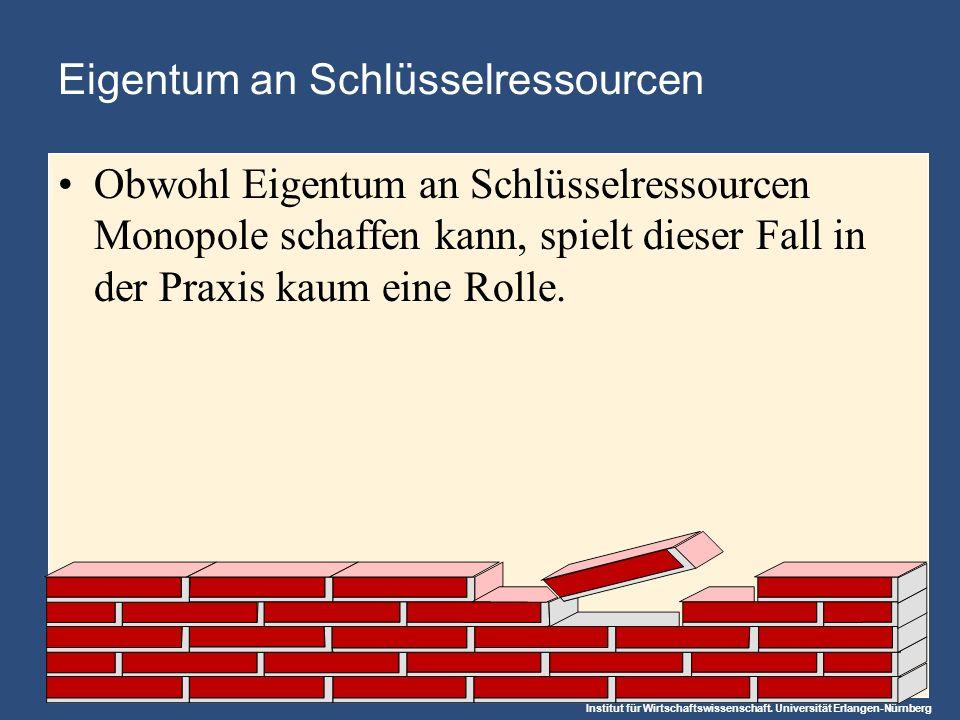 Institut für Wirtschaftswissenschaft. Universität Erlangen-Nürnberg Eigentum an Schlüsselressourcen Obwohl Eigentum an Schlüsselressourcen Monopole sc