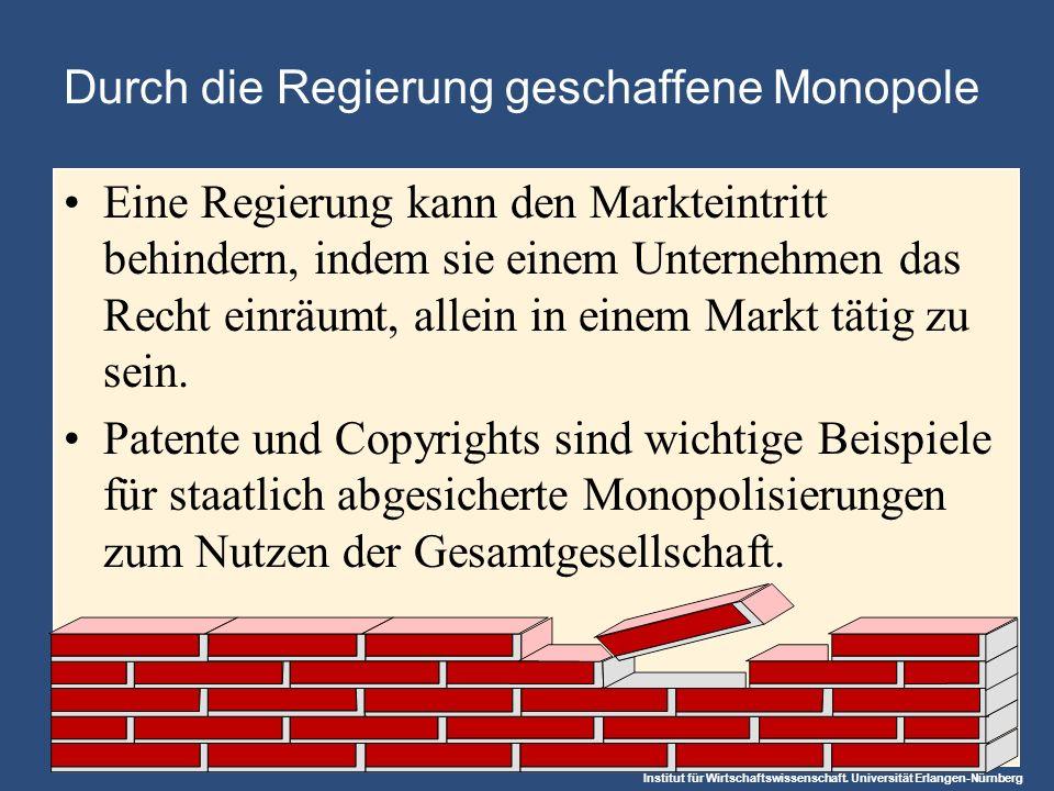 Institut für Wirtschaftswissenschaft. Universität Erlangen-Nürnberg Durch die Regierung geschaffene Monopole Eine Regierung kann den Markteintritt beh