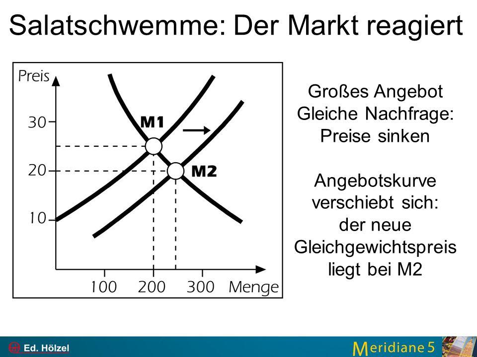 Salatschwemme: Der Markt reagiert Großes Angebot Gleiche Nachfrage: Preise sinken Angebotskurve verschiebt sich: der neue Gleichgewichtspreis liegt bei M2