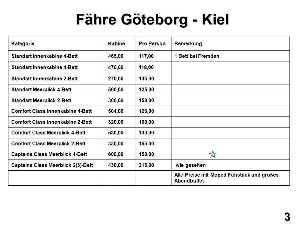 Fähre Göteborg - Kiel KategorieKabine Pro Person Bemerkung Standart Innenkabine 4-Bett 465,00117,00 1 Bett bei Fremden Standart Innenkabine 4-Bett 470