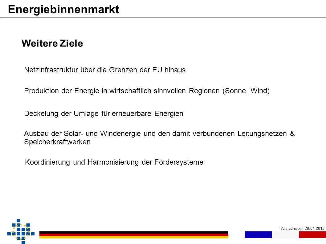 Wietzendorf, 29.01.2013 Energiebinnenmarkt Weitere Ziele Koordinierung und Harmonisierung der Fördersysteme Netzinfrastruktur über die Grenzen der EU