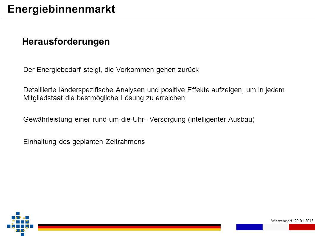 Wietzendorf, 29.01.2013 Energiebinnenmarkt DeutschlandFrankreich Herausforderungen Einhaltung des geplanten Zeitrahmens Der Energiebedarf steigt, die