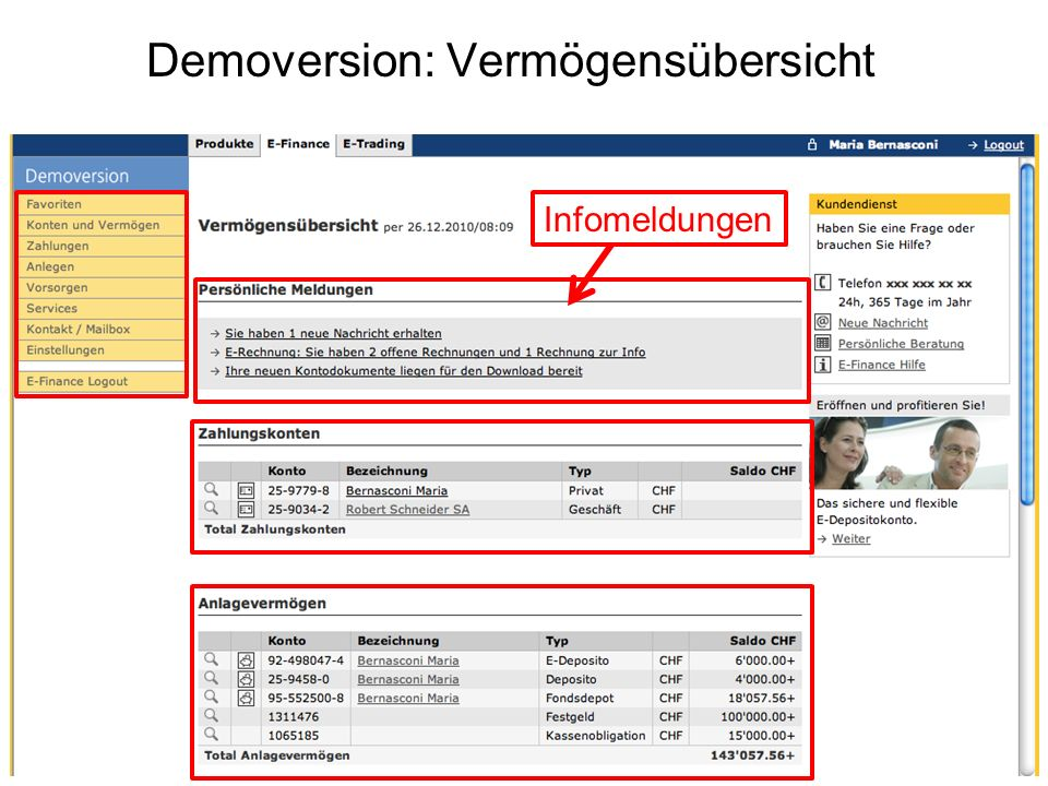Demoversion: Vermögensübersicht Infomeldungen