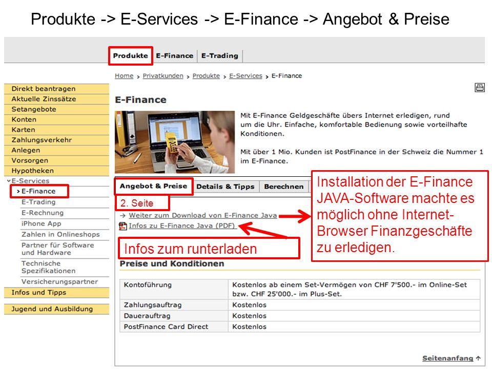 Produkte -> E-Services -> E-Finance -> Angebot & Preise Infos zum runterladen Installation der E-Finance JAVA-Software machte es möglich ohne Internet- Browser Finanzgeschäfte zu erledigen.