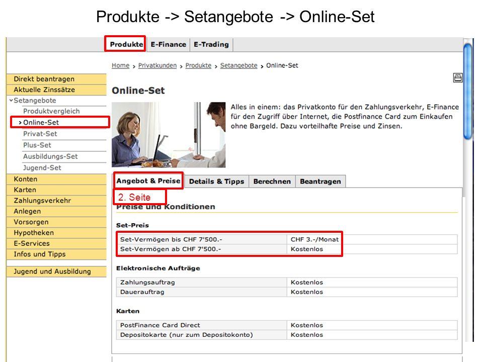 Produkte -> Setangebote -> Online-Set Nächste Folie 2. Seite