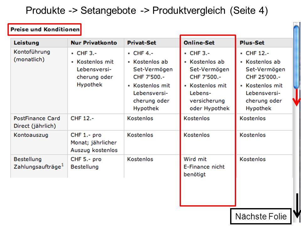 Produkte -> Setangebote -> Produktvergleich (Seite 4) Nächste Folie