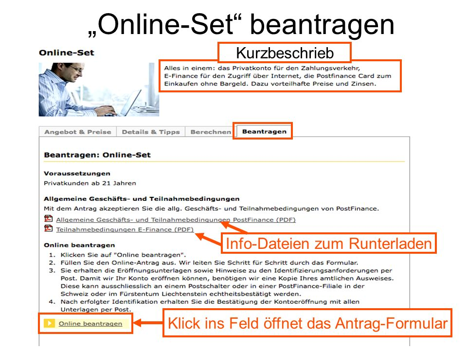Online-Set beantragen Info-Dateien zum Runterladen Klick ins Feld öffnet das Antrag-Formular Kurzbeschrieb