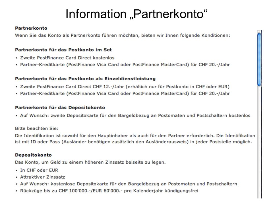Information Partnerkonto