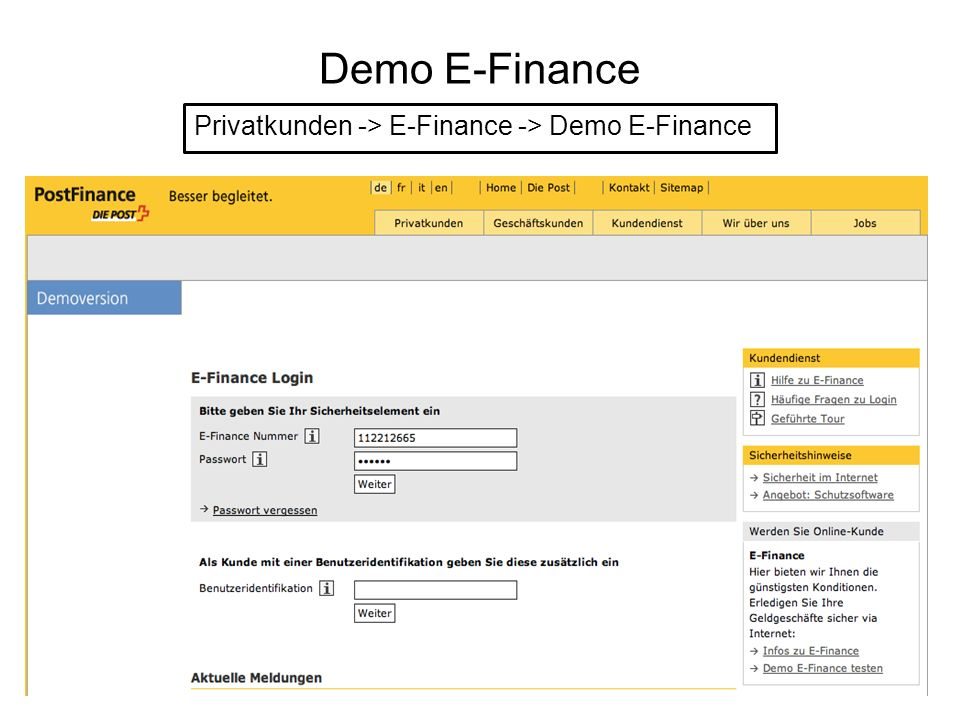 Demo E-Finance Privatkunden -> E-Finance -> Demo E-Finance