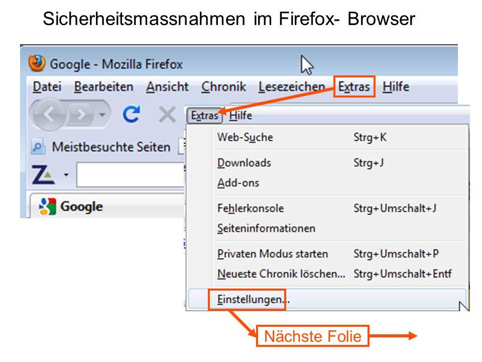 Sicherheitsmassnahmen im Firefox- Browser Nächste Folie