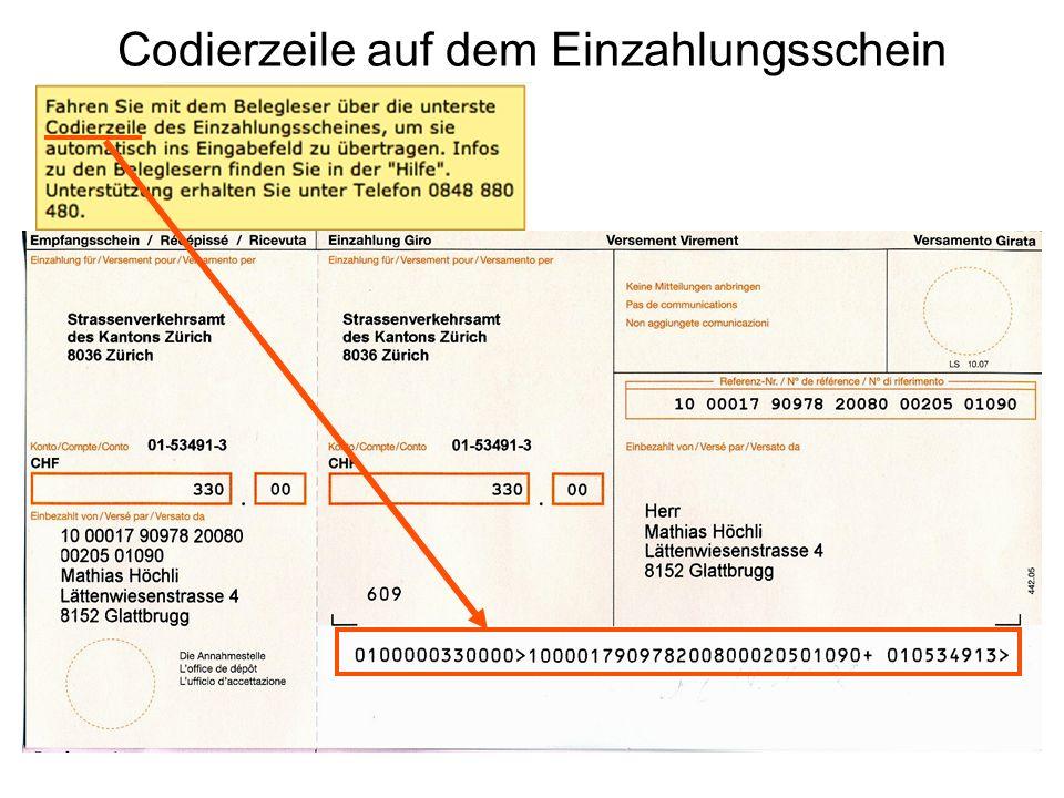 Codierzeile auf dem Einzahlungsschein