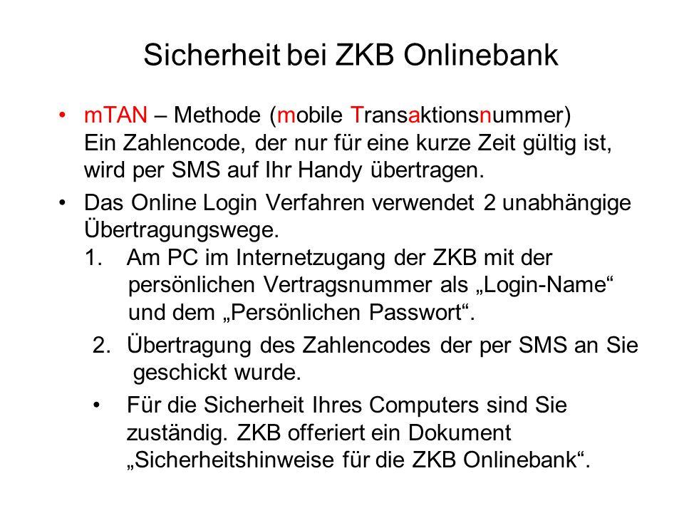 Sicherheit bei ZKB Onlinebank mTAN – Methode (mobile Transaktionsnummer) Ein Zahlencode, der nur für eine kurze Zeit gültig ist, wird per SMS auf Ihr Handy übertragen.