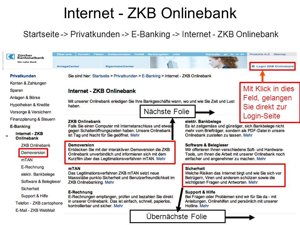 Internet - ZKB Onlinebank Startseite -> Privatkunden -> E-Banking -> Internet - ZKB Onlinebank Mit Klick in dies Feld, gelangen Sie direkt zur Login-Seite Nächste Folie Übernächste Folie