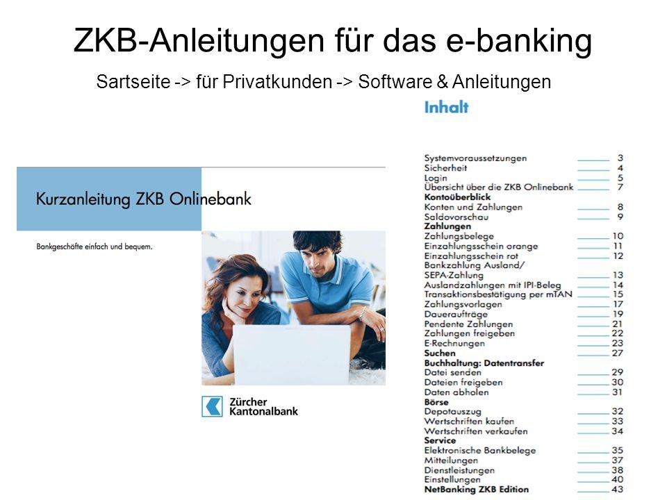 ZKB-Anleitungen für das e-banking Sartseite -> für Privatkunden -> Software & Anleitungen