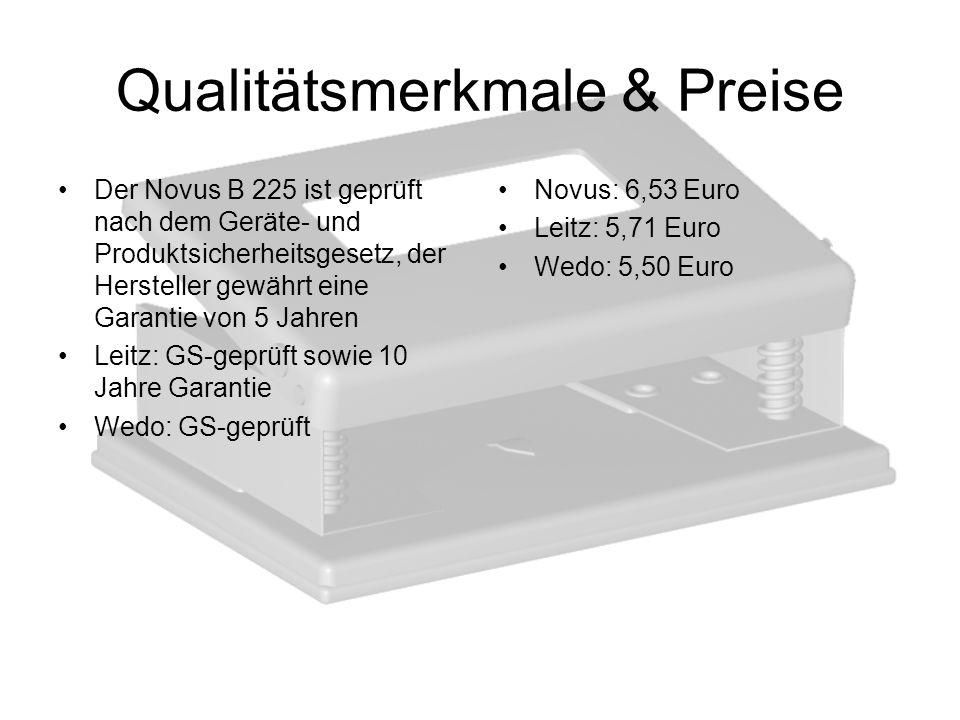 Qualitätsmerkmale & Preise Der Novus B 225 ist geprüft nach dem Geräte- und Produktsicherheitsgesetz, der Hersteller gewährt eine Garantie von 5 Jahre