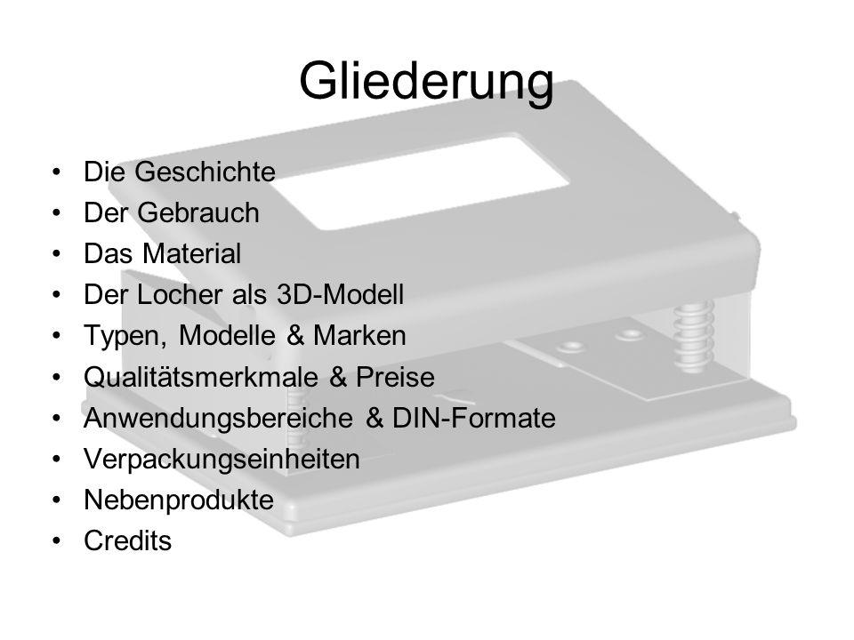 Gliederung Die Geschichte Der Gebrauch Das Material Der Locher als 3D-Modell Typen, Modelle & Marken Qualitätsmerkmale & Preise Anwendungsbereiche & D
