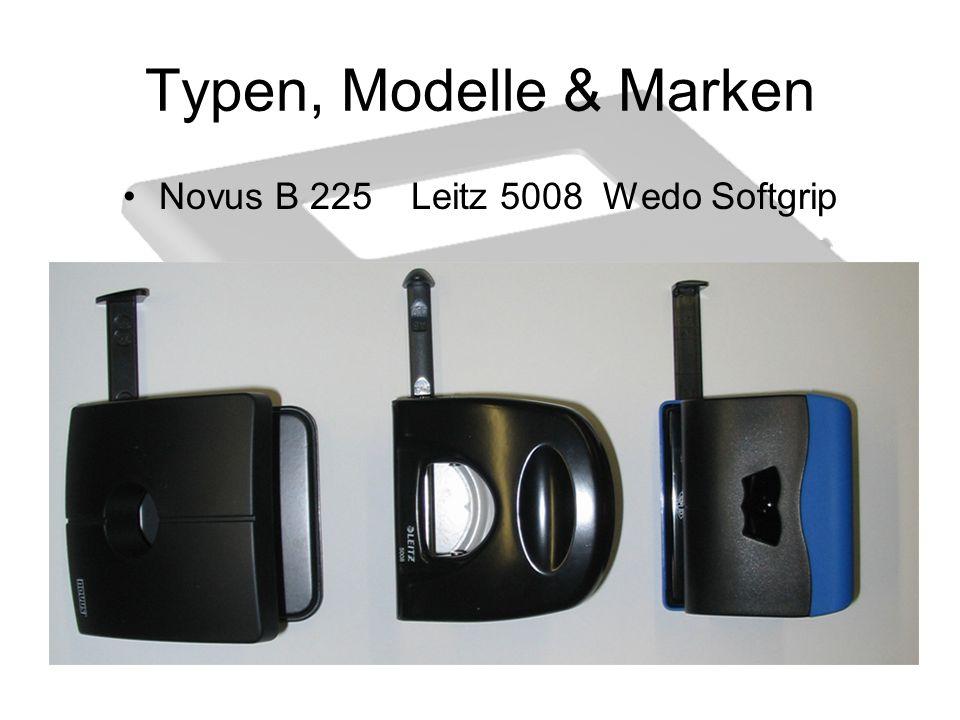 Typen, Modell & Marken Novus B 225; Metall- Bürolocher; mit stabiler Anschlagschiene für DIN Lochungen, locht bis zu 25 Blatt, ausgegangen von normalem 80g/m² Papier, in den Farben grau, blau, rot, grün und schwarz erhältlich, zusätzliche Oberteilverriegelung, Maße: 10x10,5x6,5cm