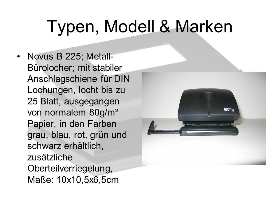 Typen, Modell & Marken Novus B 225; Metall- Bürolocher; mit stabiler Anschlagschiene für DIN Lochungen, locht bis zu 25 Blatt, ausgegangen von normale