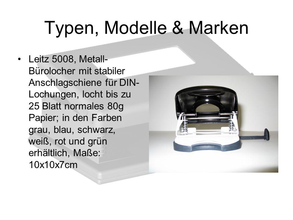 Typen, Modelle & Marken Leitz 5008, Metall- Bürolocher mit stabiler Anschlagschiene für DIN- Lochungen, locht bis zu 25 Blatt normales 80g Papier; in