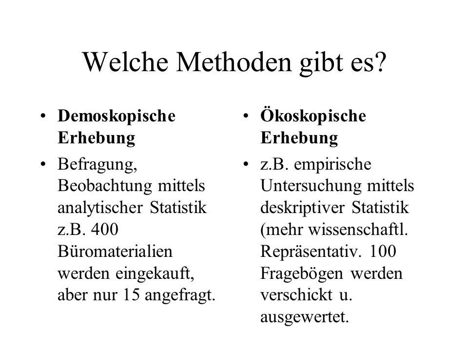Welche Methoden gibt es? Demoskopische Erhebung Befragung, Beobachtung mittels analytischer Statistik z.B. 400 Büromaterialien werden eingekauft, aber
