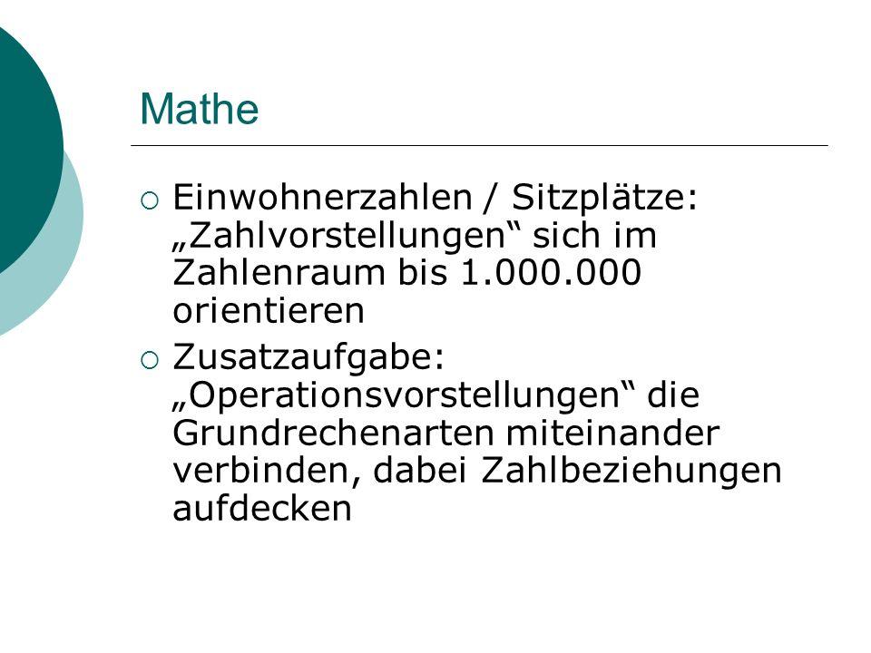 Mathe Einwohnerzahlen / Sitzplätze: Zahlvorstellungen sich im Zahlenraum bis 1.000.000 orientieren Zusatzaufgabe: Operationsvorstellungen die Grundrec