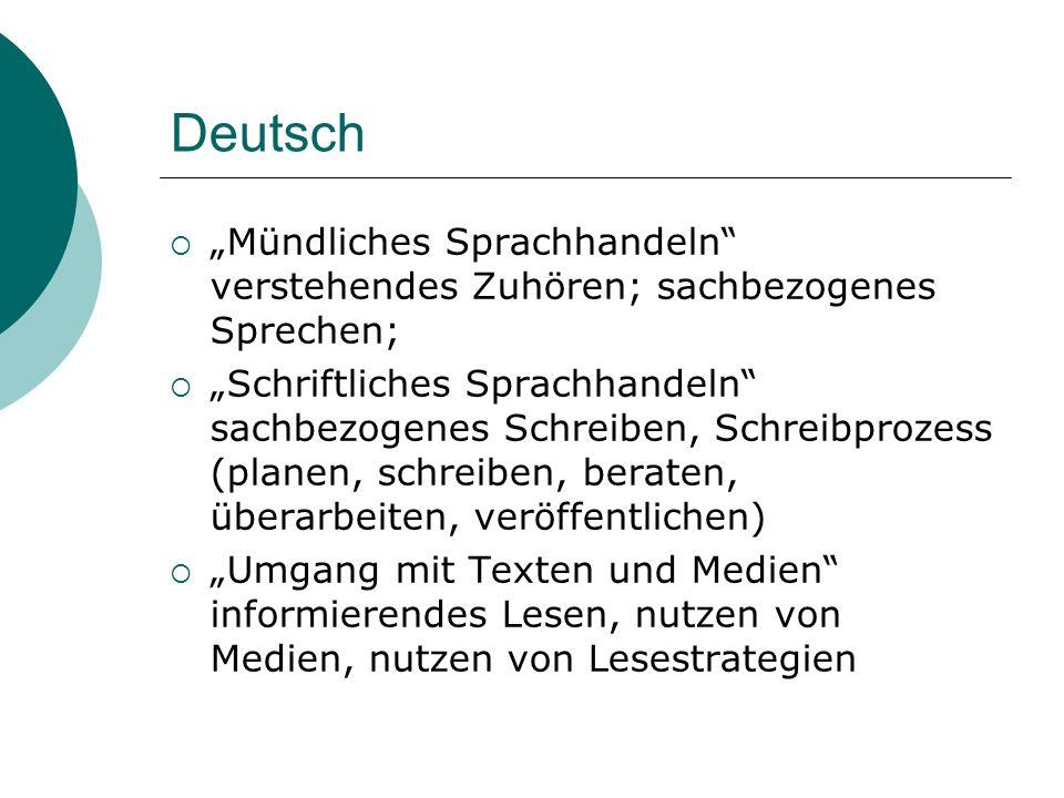 Deutsch Mündliches Sprachhandeln verstehendes Zuhören; sachbezogenes Sprechen; Schriftliches Sprachhandeln sachbezogenes Schreiben, Schreibprozess (pl