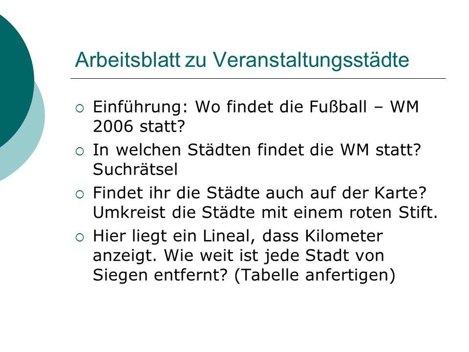 Arbeitsblatt zu Veranstaltungsstädte Einführung: Wo findet die Fußball – WM 2006 statt? In welchen Städten findet die WM statt? Suchrätsel Findet ihr