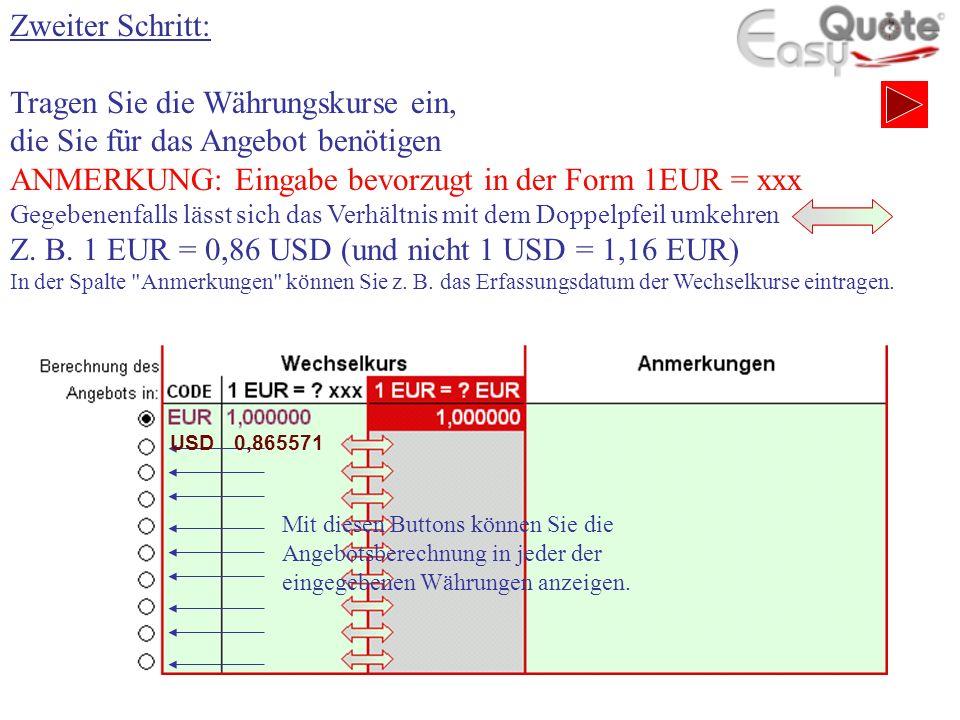 Zweiter Schritt: Tragen Sie die Währungskurse ein, die Sie für das Angebot benötigen ANMERKUNG: Eingabe bevorzugt in der Form 1EUR = xxx Gegebenenfalls lässt sich das Verhältnis mit dem Doppelpfeil umkehren Z.
